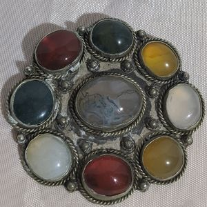 Vintage Red Yellow & Green Stone Silver Pendant